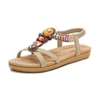 Ladies Shoes Cross-Border Bohemian Women Shoes Sandals Women 2020 Summer Blue Grid Striped Flat Shoes X9X09037