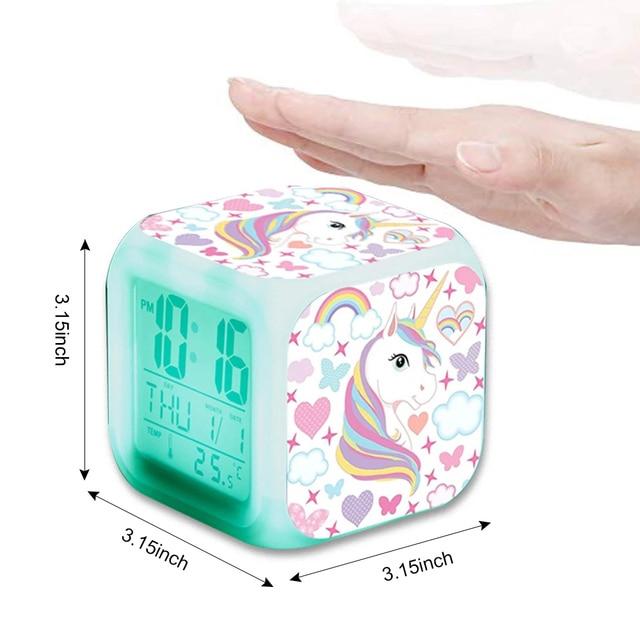 Unicorn Alarm Clock LED Digital Clock 7 Color Changing Light Night Glowing Kids Desk Clock despertador unicornio Children Gift 6