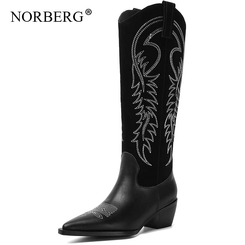 Western Cowboy womans Boots for Women Pointy Toe Cowgirl Boots Square Heels Knee High Boots Retro Women Shoes black boot