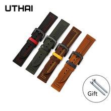 Uthai z37 pulseira de couro pulseira 22mm pulseira de relógio para huawei/samsung engrenagem s3/galaxy assista 46mm