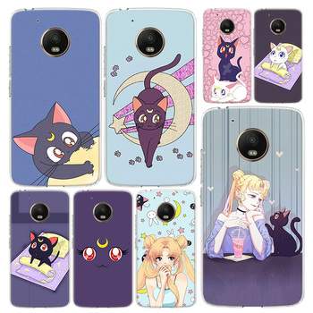 Перейти на Алиэкспресс и купить Чехол для телефона Blu-Ray Lovely Luna Cat для Motorola Moto G8 G7 G6 G5 G5S G4 E6 E5 E4 Power Plus Play One Action Macro Vision C