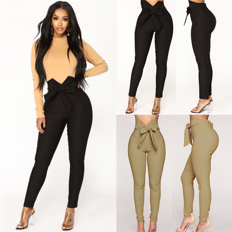 Women Trousers Bowknot Stretch Slim Pencil Trousers High Waist Casual Pants Fashion Ladies Bandage Elastic Trousers With Sashes