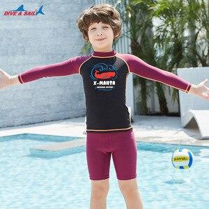 Image 3 - Dive & Sail dla dzieci chłopcy strój kąpielowy pływanie garnitur 2 sztuka zestaw UV50 + ochrona przed słońcem dla 3 9Y dzieci rashguardy surfowania plażowe stroje kąpielowe