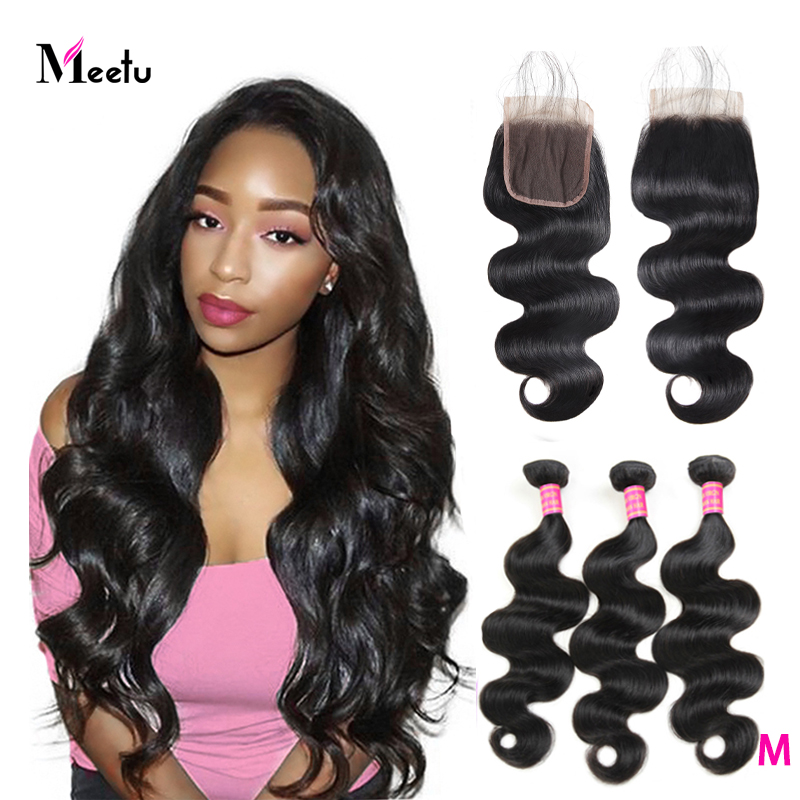 Meetu Body Wave Bundles With Closure Indian Human Hair Bundles With Closure 4X4 Inch 3 Bundles With Closure Free Part Non Remy