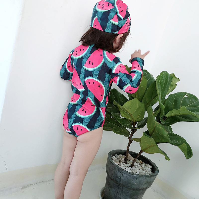 2019 New Style KID'S Swimwear Summer Surfing Cool Watermelon Pattern Girls One-piece Long Sleeve Sun-resistant Holiday