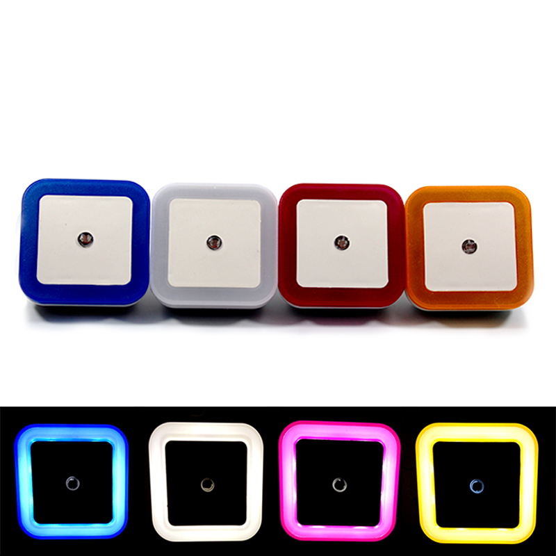 Light Sensor Control LED Night Light EU US Plug MINI Square Lamp White Blue Yellow Red Bedroom Corridor Living Room Lighting