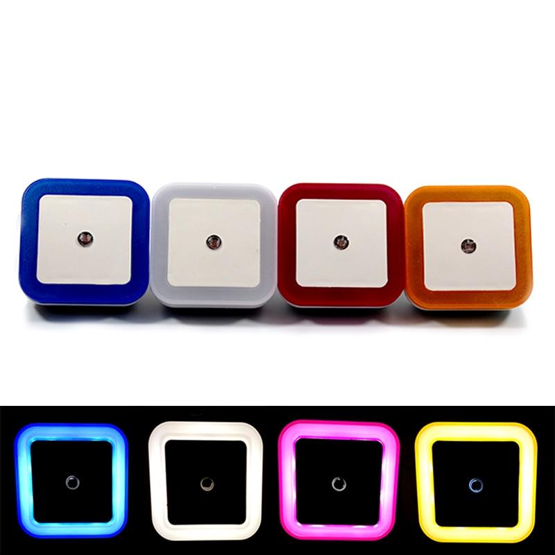 Light Sensor Control LED Night Light EU US Plug MINI Square Lamp White Blue Yellow Red Bedroom Corridor Living Room Lighting