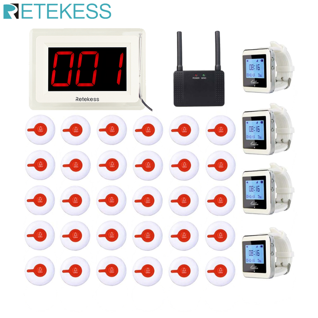 RETEKESS Wireless Calling System Restaurant Cafe Office Pager Receiver Host+4 Watch Receiver+Signal Repeater+30 Call Buttons