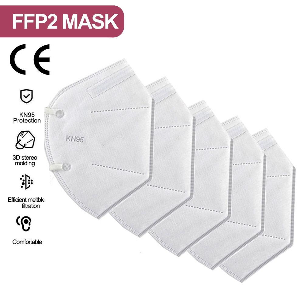 2-200 pièce FFP2 Mascarillas KN95 masques faciaux adultes 5 couches filtre masque Facial Filtration bouche masques anti-poussière masque respiratoire 2