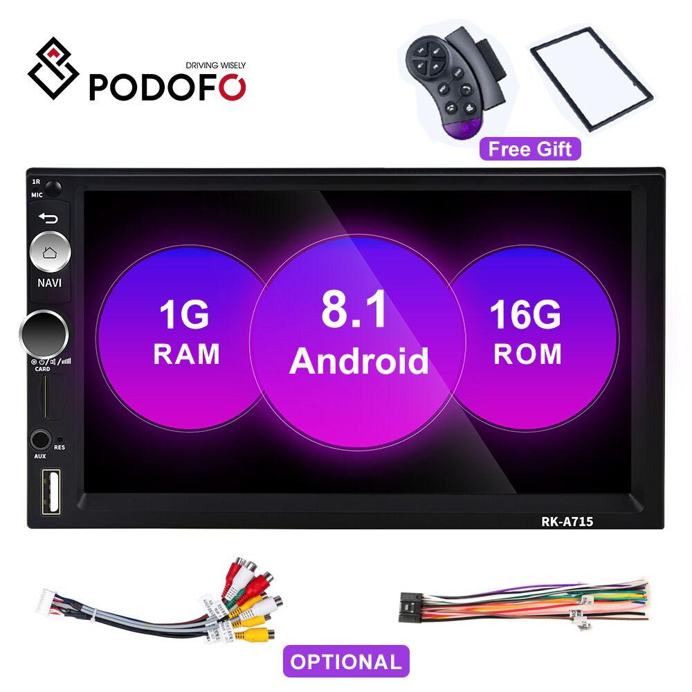 Podofo Android 8.1Car Radio 2 Din 7 écran tactile MP5 lecteur Autoradio Bluetooth MirrorLink Autoradio pour Nissan Toyato Hyundai
