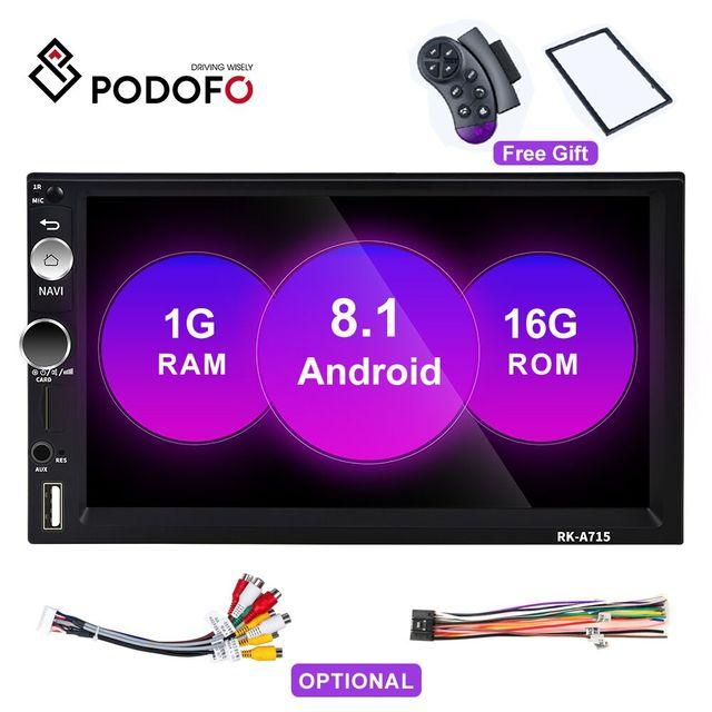 """Podofo autorradio 2 Din con reproductor MP5 y pantalla táctil de 7 """", Android 8,1, Bluetooth, MirrorLink, para Nissan, Toyota, Hyundai"""