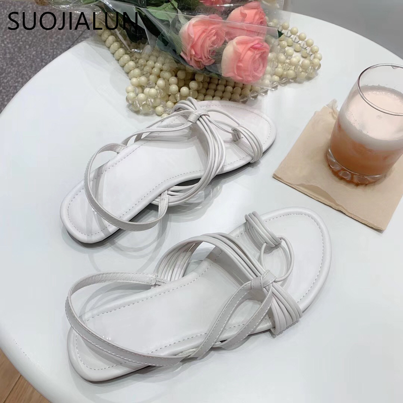 SUOJIALUN New Women Summer Bohemia Gladiator Sandals Narrow Band Beach Flat Casual Sandals Female Ladies Women Slip On Sandalias in Low Heels from Shoes