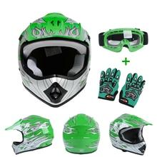 Motorcycle Youth Kids Helmets Motocross Dirt Bike ATV Off-Road Child Helmet DOT S M L XL Green
