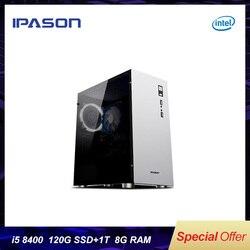 8 generación Intel IPASON M5 ordenador de escritorio de oficina/PC de juegos i5 8400 Hexa-Core DDR4 8G RAM 1THDD + 120G SSD Mini-PC de juegos