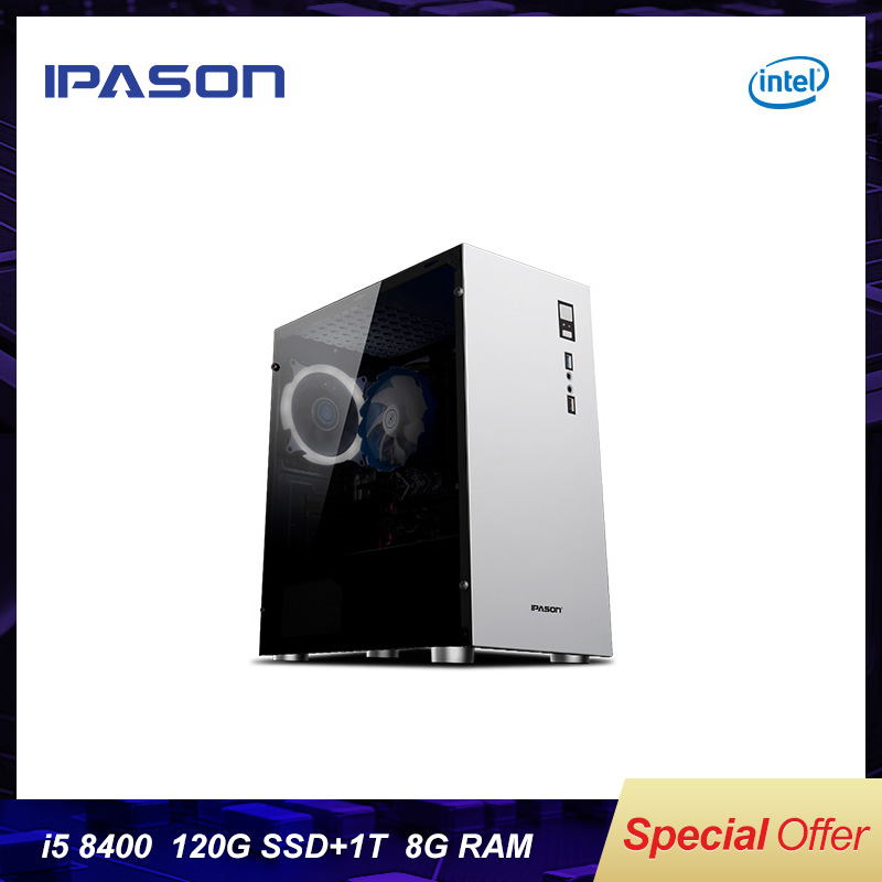 8th Gen Intel IPASON M5 Office Desktop Computer/Gaming PC I5 8400 Hexa-Core DDR4 8G RAM 1THDD+120G SSD Mini-gaming PC