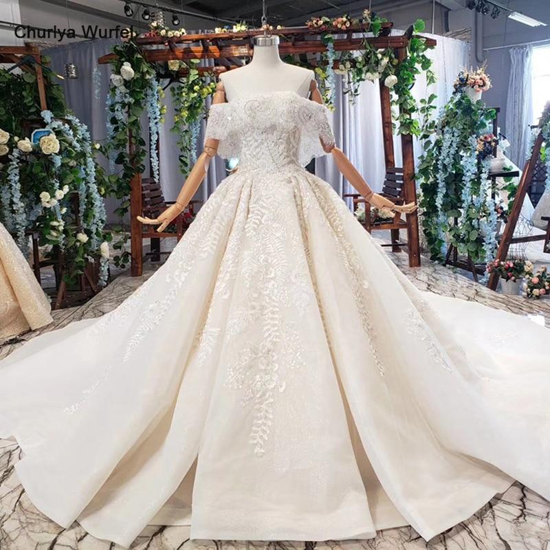 HTL698 Luxury Wedding Dresses With Wedding Veil Beaded Boat Neck Off Shoulder Handwork Lace Wedding Gowns 2019 Encontrar Loja