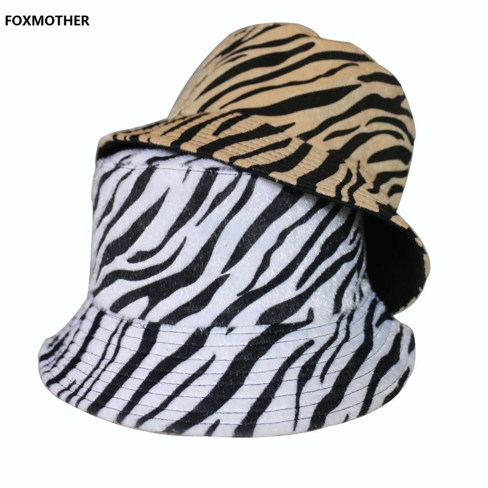FOXMOTHER 2020 Zebra Striped Print Bucket Hat Fisherman Hat Hip Hop Outdoor Travel Hat Sun Cap For Men Women