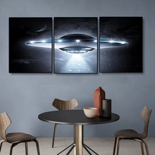 Laeacco Canvas Painting Calligraphy Abstract 3 Panel UFO Science Fiction Poster Print Wall Art Living Room Decor Home Decoration laeacco canvas calligraphy painting abstract 5 panel unicorn wall art animal poster and print nordic home living room decoration