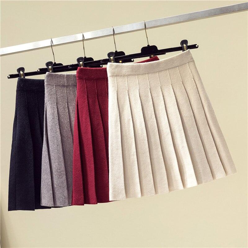 Winter Autumn 2019 Skirts Womens Pleated Knitting Wool Mini Skirt High Waist Elastic Solid Color Preppy Style  Saia Midi Skirts