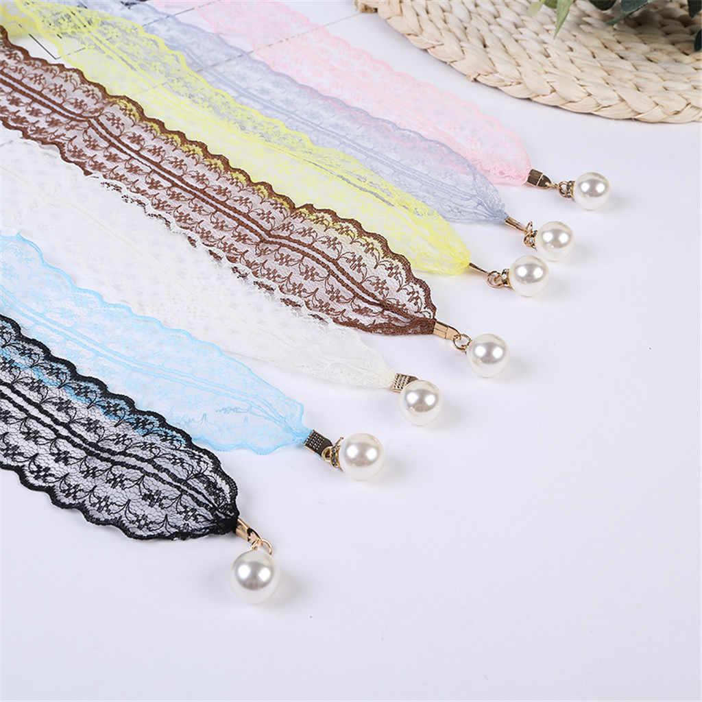 Kobiety modne paski koronki Hollow pas cienki perłowy pas liny na sukienki Tassel pas pas węzeł zdobione wąską wstążką czarny