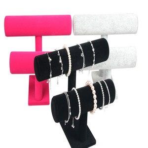 Image 2 - 1pcsคุณภาพสูงVINTAGE PUหนัง/กำมะหยี่สร้อยข้อมือนาฬิกาเครื่องประดับT Bar Rack Organizer Hardจอแสดงผลstand Holder