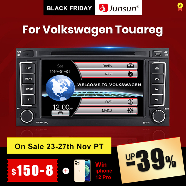 Junsun 2 din Car Radio Multimedia dvd playe For VW Volkswagen Touareg 2004   2011 Transporter Android 9.0 GPS 4+64GB Optional