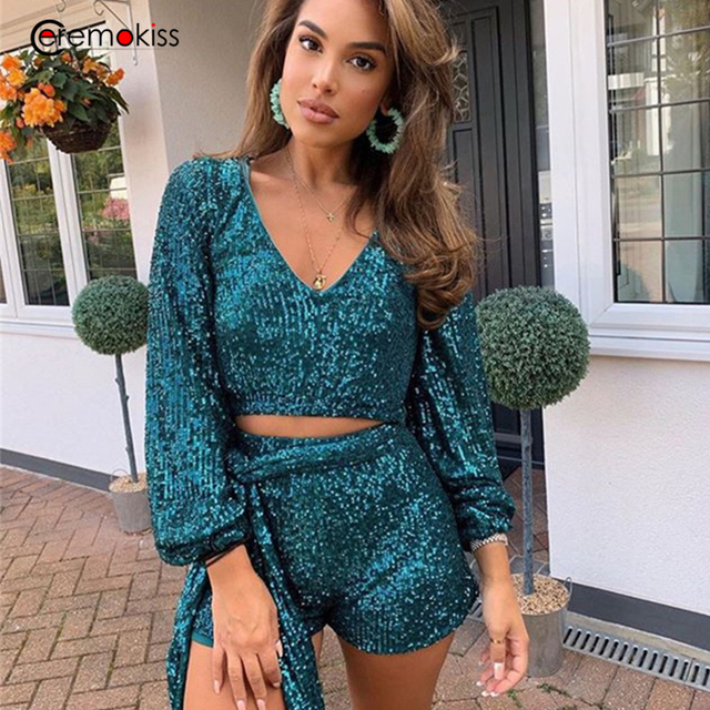 Ceremokiss Sequin Outfits Two Piece Set Women Sparkle Glitter V Neck Crop Top Shorts Autumn Sexy Bandage Puff Sleeve Club Sets