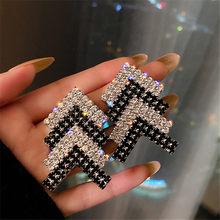 FYUAN-pendientes triangulares geométricos de cristal para mujer, aretes negros de diamantes de imitación, accesorios de joyas de declaración