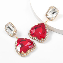 JIJIAWENHUA New Fashion Trend Ladies Love Heart-shaped Rhinestone Pendant Earrings Statement Temperament Earrings Accessories