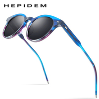 HEPIDEM Acetate Polarized Sunglasses Women 2020 New Brand Designer High Quality Vintage Round Sun Glasses for Men UV400 9127