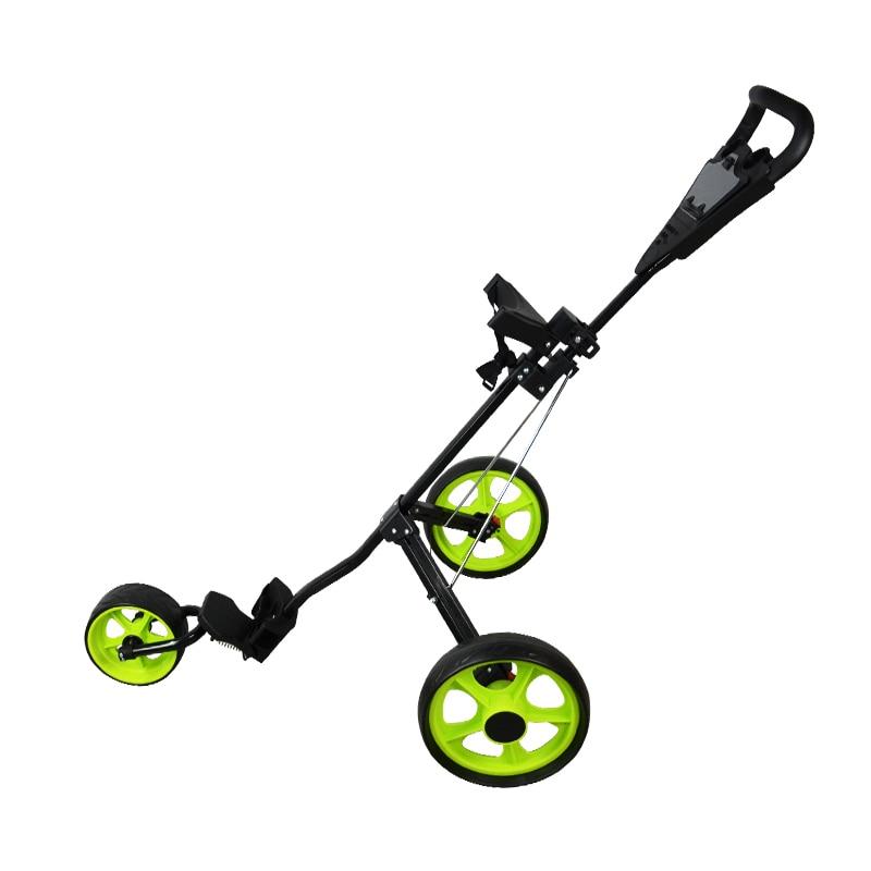 PLAYEAGLE Golf Cart Aluminum Adjustable Golf Trolley 3 Wheels Pull Push Golf Cart Aluminium Alloy Foldable Trolley With Brake