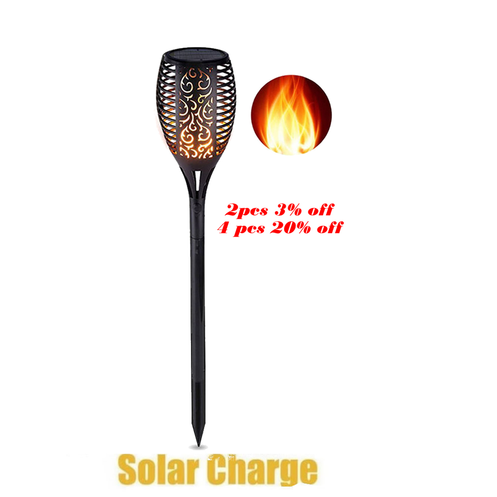 Outdoor Waterproof Flickering Flame Lamp Solar Torch Light Home Garden Decoration Fence Lawn Lamp Walkway Flame Lamp Flickering
