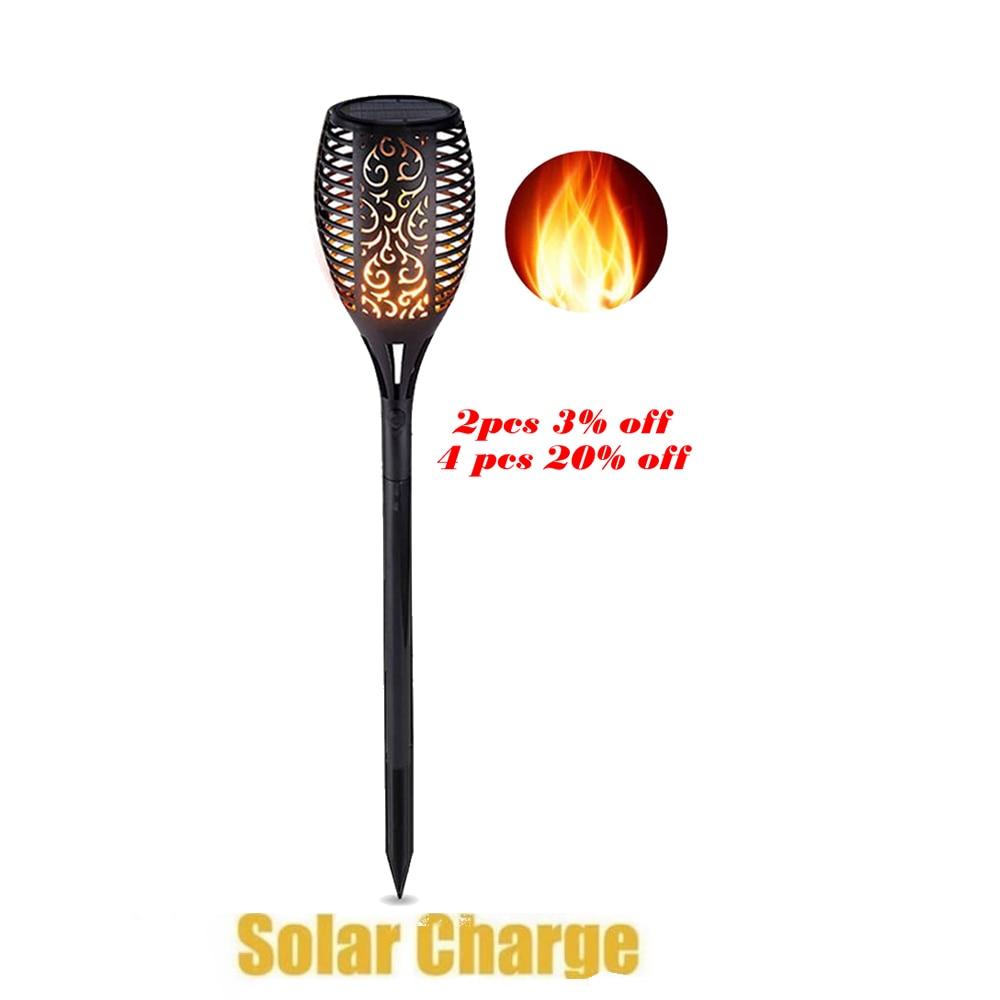 Outdoor Waterproof Flickering Flame Lamp Solar Torch Light Home Garden Decoration Fence Lawn Lamp Walkway Flame Lamp Flickering