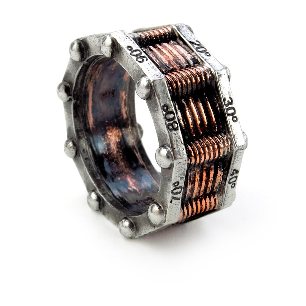 Vintage gothique hommes anneau salut-tension torique générateur anneau en métal anneaux pour hommes