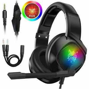 Проводные наушники ONIKUMA K19, игровая гарнитура с микрофоном, наушники с шумоподавлением для PS4, Xbox One, ноутбука, ПК, планшета, RGB Led