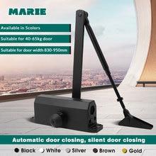 Black Color Aluminum Alloy Hydraulic Door Closer 40kg-65kg Automatic Spring Mute Closing Fire-proof Door Closer Speed Adjustable
