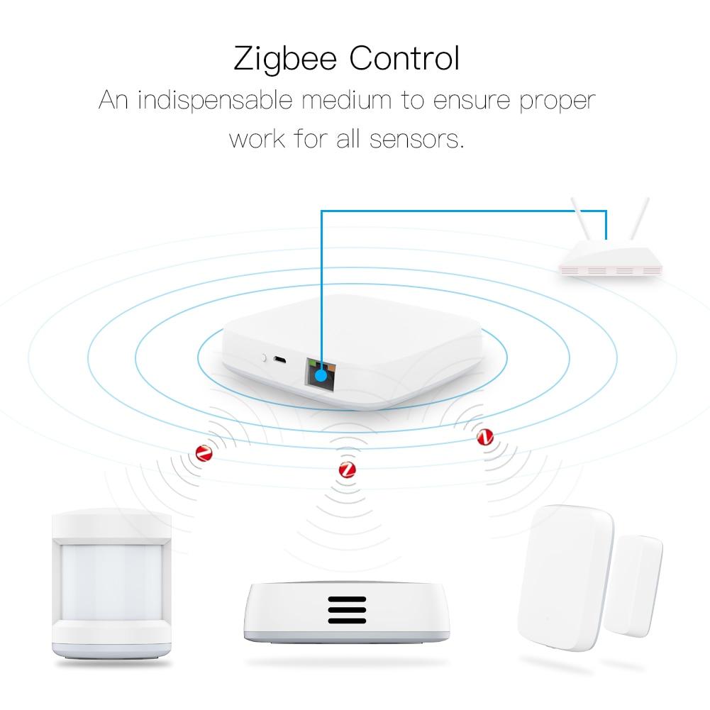Tuya Inteligente Zigbee Gateway Hub Cena Domótica Kit De Alarme De Segurança PIR Porta & Janela Temperatura & Sensor de Umidade Inteligente vida