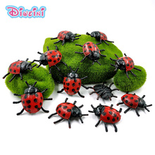 12pcs Simulation mini Ladybug animal model Lifelike insect action figure Diy educational Gift For Kids hot toy set for children цена 2017