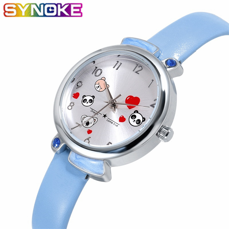 SYNOKE New Children Quartz Watches Colorful Lovely Pandas Waterproof Kids Wrist Watch Boys Girls Watch Birthday Gift For Kids