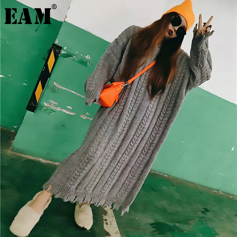 [EAM] 2019 New Autumn Winter Round Neck Long Sleeve Gray Sequins Split Joint Loose Big Size Knitting Sweater Women Fashion JH984