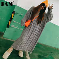 [EAM] Big Size Oversize Stricken Pullover Lose Fit Rundhals Langarm Frauen Neue Mode Flut Herbst Winter 2019 1B110