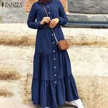 Elegante Taste Muslim Kleid frauen Herbst Rüschen Vestidos ZANZEA Casual Türkische Robe Weibliche Demin Blau Hemd Kleid Plus Größe
