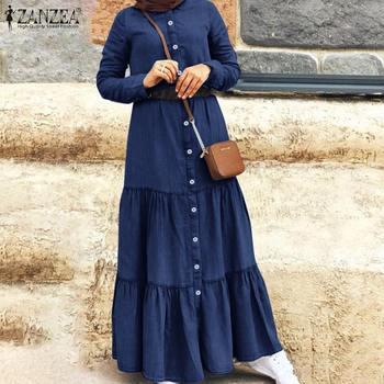 Elegant Button Muslim Dress Women's Autumn Ruffle Vestidos ZANZEA Casual Turkish Robe Female Demin Blue Shirt Dress Plus Size plus size half button pinstripe shirt dress