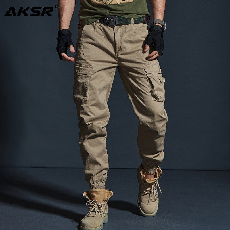AKSR Men's Hip Hop Streetwear Cotton Cargo Pants Large Size Flexible Tactical Harem Pants Military Trousers Joggers Sweatpants