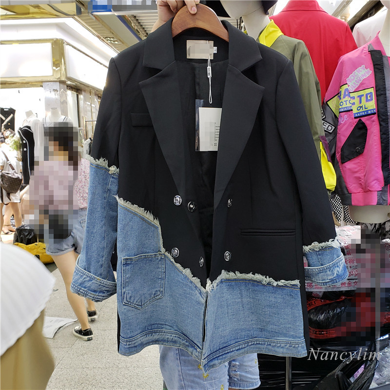 Denim Blazer Coat Woman 2020 Autumn New European Style Irregular Stitching Denim Business Suit Collar Jacket Slim Blazers Coats