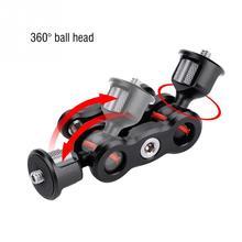 Multi fonction double tête sphérique chaussure chaude bras magique adaptateur de montage 360 degrés rotule tête avec 1/4 vis pour Sony Canon Nikon appareil photo