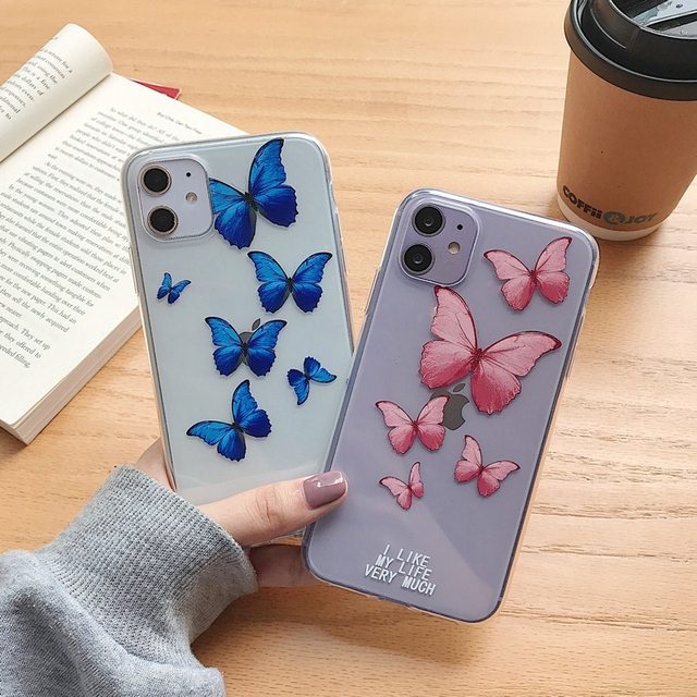 Papilio Swallowtail Butterfly Print Transparent Soft TPU Silicone Case Cover For iPhone 6 6s 7 8 Plus 11 Pro 10 X XR Xs Max Capa