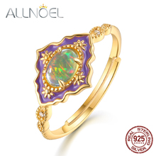 ALLNOEL Silver 925 Jewelry Gemstone Rings  For Women Vintage Real Natural Fire Opal Enamel Rainbow Ring Wedding luxury  Brand