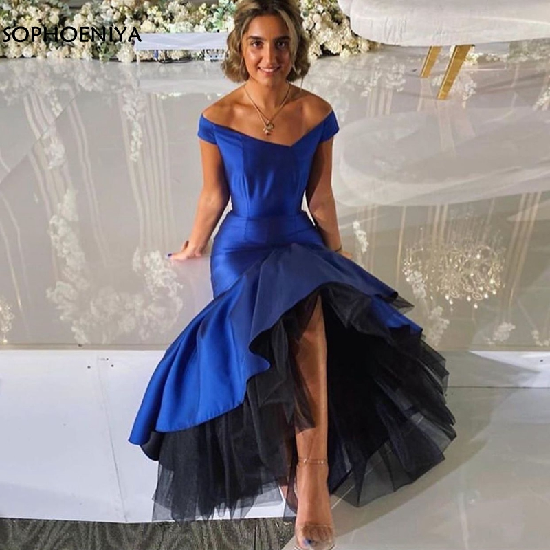 New Arrival V Neck Royal blue Mermaid evening dress 2020 Black Tulle Formal dress Party Evening gown robe de soiree