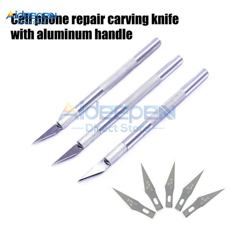 Non-Slip Metal Scalpel Knife Tools Kit #3-#17 Cutter Engraving Craft Knives Blades For Mobile Phone Laptop PCB Repair Hand Tools